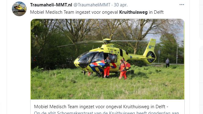 Delft – Dode bij ongeluk op Kruithuisweg