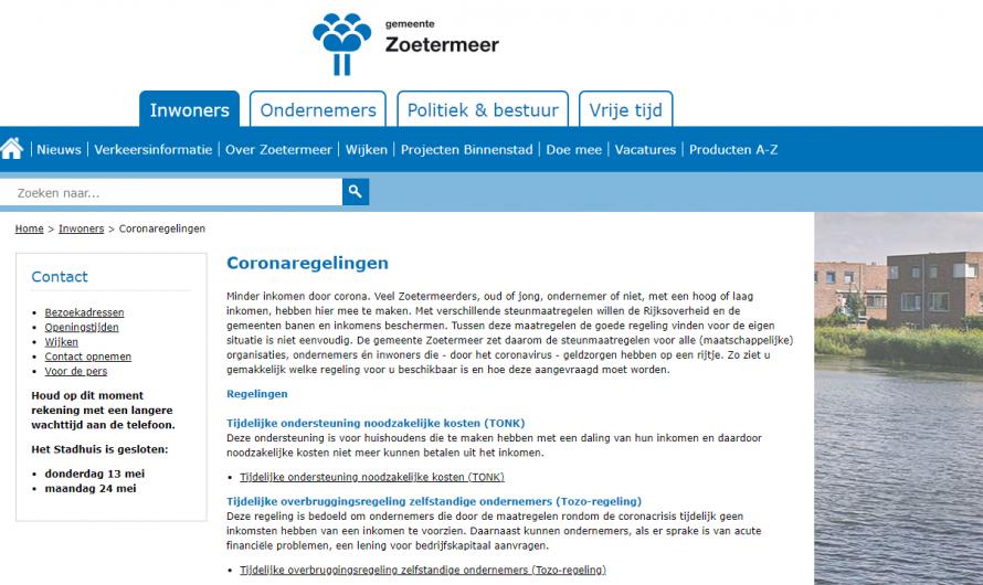 Zoetermeer – Website voor steunmaatregelen Corona