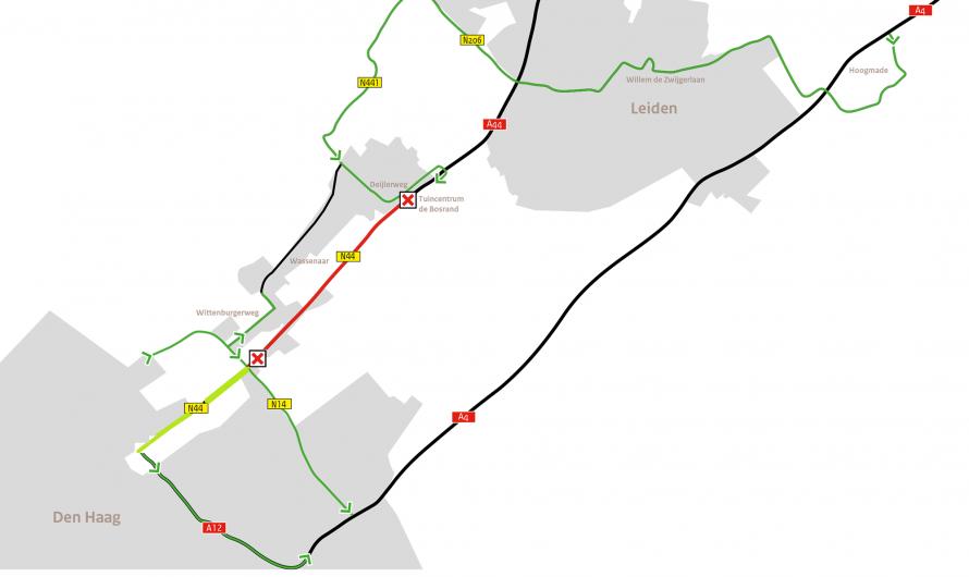 Wassenaar – A44/N44 twee weekenden in augustus afgesloten